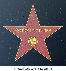 Hollywood Walk Of Fame. Vector Star Illustration. Famous Sidewalk Boulevard. Classic Film Camera Representing Motion Pictures. Public Monument To Achievement