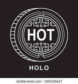 holo coin Cryptocurrency  icon with black background