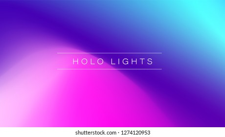 Holo Lights. Vector Blue Purple Hologram Dreamy Background. Rainbow Iridescent Gradient. Minimalist Holographic Fluid Wallpaper.  Neon Opalescent Banner. Modern Tech Music Design.