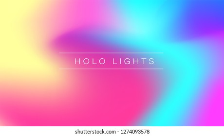 Holo Lights. Vector Hologram Dreamy Background. Rainbow Iridescent Gradient. Minimalist Holographic Fluid Wallpaper.  Neon Opalescent Banner. Modern Tech Music Design.