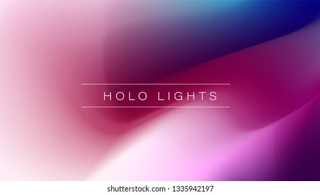 Holo Lights. Vector Hologram Dreamy Background. Holographic Fluid Wallpaper.  Neon Opalescent Banner. Modern Tech Music Design.