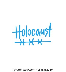 Holocaust concept text logo design template with barbed wire. Design for banner, presentation, background, poster. Editable vector EPS 10 illustration.