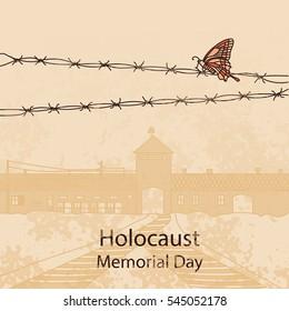 Holocaust Memorial Day. Entrance gate to Auschwitz Birkenau. Vector illustration. War II