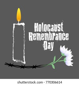 Holocaust Remembrance Day. Barbed wire, candle and flowers. Holocaust Memorial Day. Vector illustration