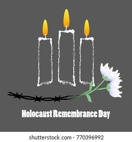 Holocaust Remembrance Day. Barbed wire, candles and flowers. Holocaust Memorial Day. Vector illustration