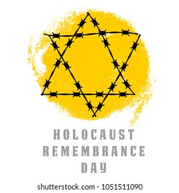 Holocaust Remembrance Day. Concentration Camps. Yellow Star of David. This David's Star was used in Ghetto and Concentration Camps. Vector illustration