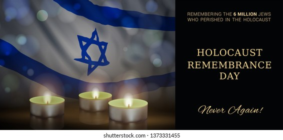 Holocaust Remembrance Day of Israel. Vector banner design template with a realistic flag of Israel, candles, and text on black background.