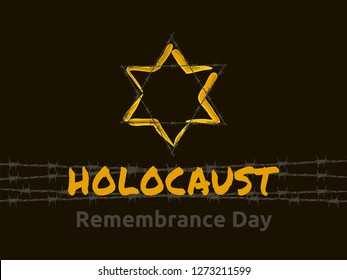 Holocaust Remembrance Day, january 27, Jewish star in the barbed wire, vector illustration