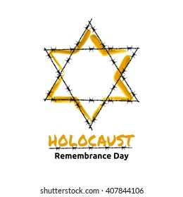 Holocaust Remembrance Day, May 5, Jewish star in the barbed wire, vector illustration
