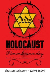 Holocaust Remembrance Day stamp, label sticker