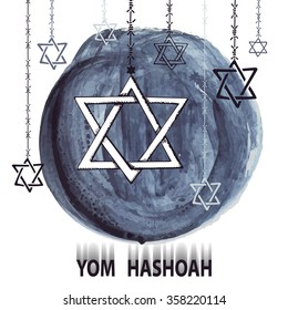 Holocaust Remembrance Day.Star of David,symbol of Israel on watercolor ink splash background,barbed wire.Hand drawing jewish icon.Vector illustration for Yom Hashoah.Artistic mourning texture.