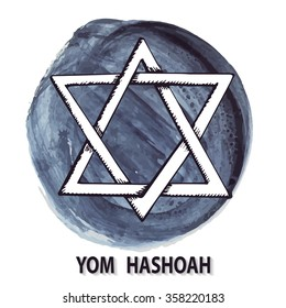 Holocaust Remembrance Day.Star of David,symbol of Israel on watercolor ink splash background.Hand drawing jewish icon.Vector illustration for Yom Hashoah.Artistic mourning texture.