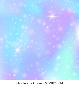 Hologram abstract background. Colorful gradient backdrop with hologram. 90s, 80s retro style. Iridescent graphic template for banner, flyer, cover design, mobile interface, web app.