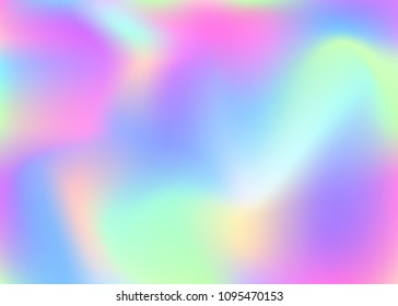 Hologram abstract background. Futuristic gradient mesh backdrop with hologram. 90s, 80s retro style. Iridescent graphic template for brochure, banner, wallpaper, mobile screen.