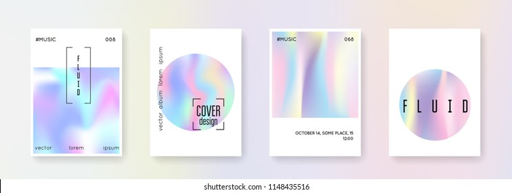 Hologram abstract backgrounds set. Colorful hologram backdrop with gradient mesh. 90s, 80s retro style. Iridescent graphic template for placard, presentation, banner, brochure.