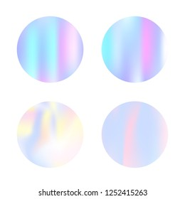 Hologram abstract backgrounds set. Liquid Gradient backdrop with hologram. 90s, 80s retro style. Pearlescent graphic template for banner, flyer, cover, mobile interface, web app.