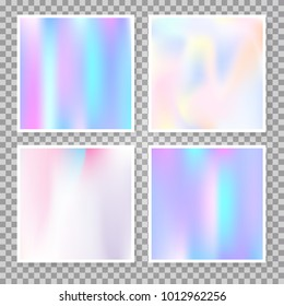 Hologram abstract backgrounds set. Trendy gradient backdrop with hologram. 90s, 80s retro style. Iridescent graphic template for banner, flyer, cover, mobile interface, web app.