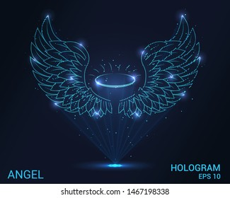 Hologram angel. Holographic projection angel wings. Flickering energy flux of particles.