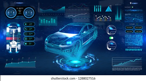 Hologram Auto in HUD UI style. Futuristic car service, scanning and auto data analysis. Car Auto Service, Modern Design, Diagnostic Auto. Virtual Graphical Interface HUD. Vector
