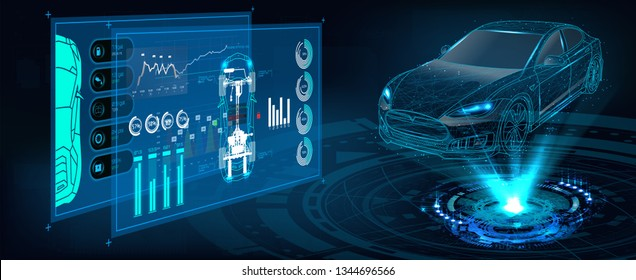 Hologram Auto in HUD UI style. Futuristic car service, scanning and auto data analysis. Car Auto Service, Modern Design, Diagnostic Auto. Virtual Graphical Interface HUD. Vector Car projection