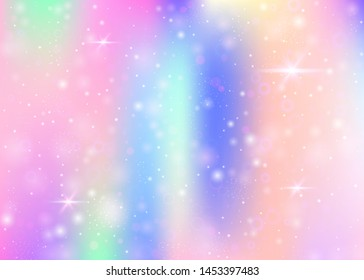 Hologram background with rainbow mesh. Cute universe banner in princess colors. Fantasy gradient backdrop. Hologram unicorn background with fairy sparkles, stars and blurs.