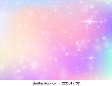 Hologram background with rainbow mesh. Kawaii universe banner in princess colors. Fantasy gradient backdrop. Hologram magic background with fairy sparkles, stars and blurs.