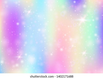 Hologram background with rainbow mesh. Kawaii universe banner in princess colors. Fantasy gradient backdrop. Hologram unicorn background with fairy sparkles, stars and blurs.