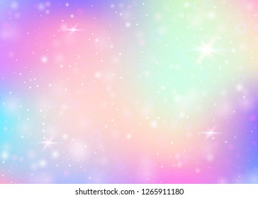 Hologram background with rainbow mesh. Multicolor universe banner in princess colors. Fantasy gradient backdrop. Hologram magic background with fairy sparkles, stars and blurs.