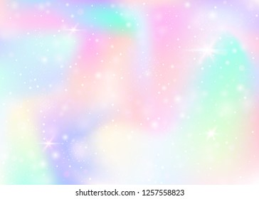 Hologram background with rainbow mesh. Mystical universe banner in princess colors. Fantasy gradient backdrop. Hologram magic background with fairy sparkles, stars and blurs.