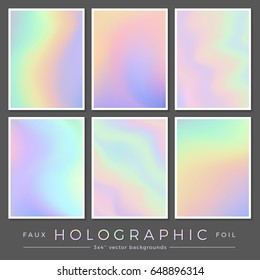 hologram backgrounds: set of six 3 x 4 '' realistic creative faux holographic foil cards, perfect for journaling / fill cards, business cards and contemporary brochure or flyer designs