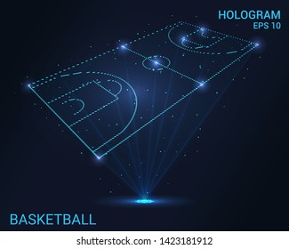 Hologram basketball. Holographic projection of the basketball court. Flickering energy flux of particles. The scientific design of the sport.