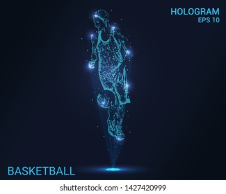 Hologram basketball. Holographic projection basketball. Flickering energy flux of particles. The scientific design of the sport.