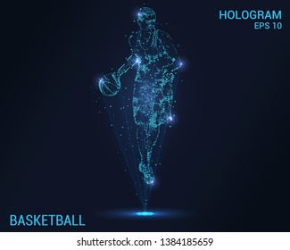 Hologram basketball. Holographic projection basketball player. Flickering energy flux of particles. The scientific design of basketball