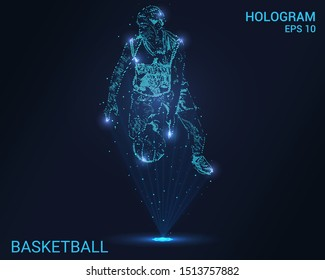 Hologram basketball. Holographic projection of a basketball player. Flickering energy flux of particles. The scientific design of the sport.