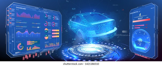 Hologram car. Futuristic auto in style low poly , wireframe in line. Car service in the style of HUD, Cars infographic ui, analysis and diagnostics in the HUD, UI, GUI style, futuristic user interface