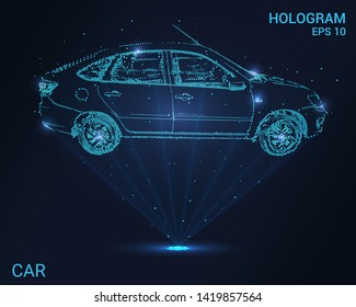 Hologram car. Holographic projection of the car. Flickering energy flux of particles. Scientific auto design.