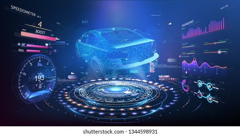 Hologram car style in HUD UI GUI. Hardware Diagnostics Condition of Car, Scanning. Cars infographic ui, analysis and diagnostics in the hud style, futuristic user interface