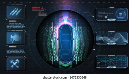 Hologram car style in HUD, UI, GUI. Hardware Diagnostics. Futuristic car service, scanning and auto data analysis. Car auto service, modern design, dagnostic auto.Concept for driver assistance systems