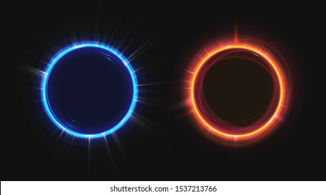 Hologram effect circles set. Neon hud blue and orange glow round rays isolated on black background. Empty lighting magic fantasy portal. Futuristic teleport top view. Realistic 3d vector illustration