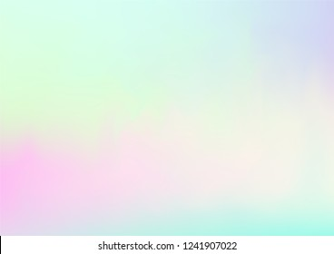 Hologram Fairy Tale Dreamy Vector Background. Simple Holographic Rainbow Girlie Iridescent Gradient, Fluid Wallpaper. Bright Pearlescent Hologram Fairy Cool Web Banner. Contrast Glitch Landing Page