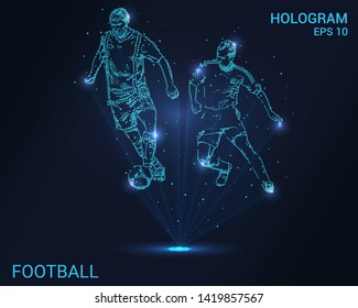 Hologram football. A holographic projection of a football player. Flickering energy flux of particles. The scientific design of the sport.