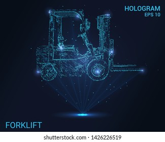Hologram forklift. Holographic projection loading. Flickering energy flux of particles. The scientific design of the logistics.