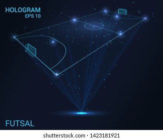 Hologram Futsal. Holographic projection of Futsal. Flickering energy flux of particles. The scientific design of the sport.