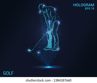 A hologram of Golf. A holographic projection of the golfer. Flickering energy flux of particles. The scientific design of the Golf