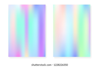 Hologram gradient background set with holographic cover. 90s, 80s retro style. Pearlescent graphic template for flyer, poster, banner, mobile app. Futuristic minimal hologram gradient.