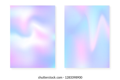 Hologram gradient background set with holographic cover. 90s, 80s retro style. Pearlescent graphic template for book, annual, mobile interface, web app. Trendy minimal hologram gradient.
