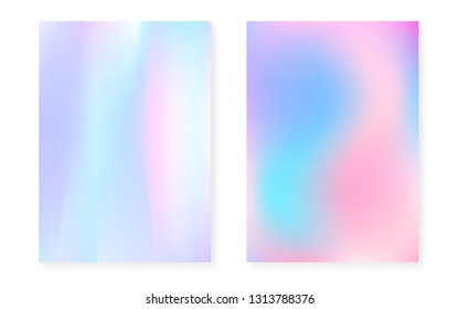 Hologram gradient background set with holographic cover. 90s, 80s retro style. Iridescent graphic template for book, annual, mobile interface, web app. Retro minimal hologram gradient.