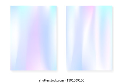 Hologram gradient background set with holographic cover. 90s, 80s retro style. Iridescent graphic template for book, annual, mobile interface, web app. Rainbow minimal hologram gradient.