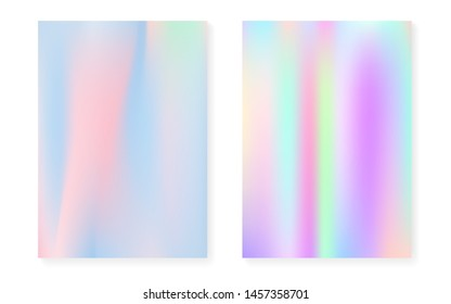 Hologram gradient background set with holographic cover. 90s, 80s retro style. Pearlescent graphic template for book, annual, mobile interface, web app. Hipster minimal hologram gradient.
