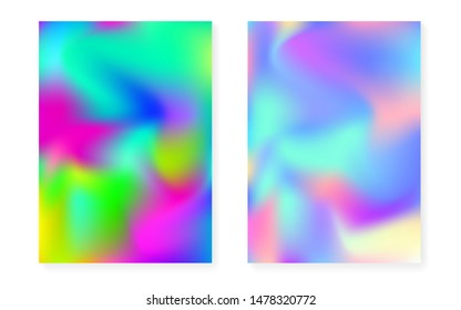 Hologram gradient background set with holographic cover. 90s, 80s retro style. Pearlescent graphic template for flyer, poster, banner, mobile app. Multicolor minimal hologram gradient.